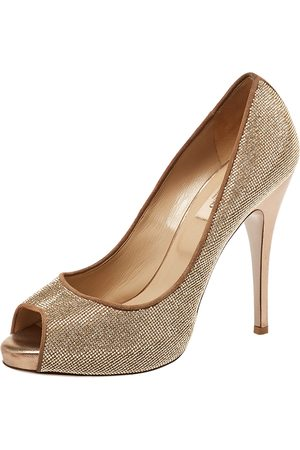 VALENTINO Women Platform Pumps - Metallic Embellished Suede And Leather Peep Toe Platform Pumps Size 38