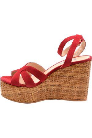 Prada Women Platform Sandals - Red Suede Wedge Platform Sandals Size EU 39