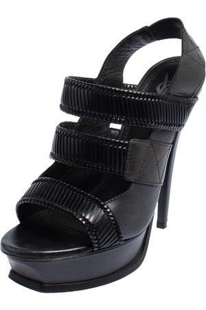 Saint Laurent Women Platform Sandals - Saint Laurent Leather Slingback Platform Sandals Side 39