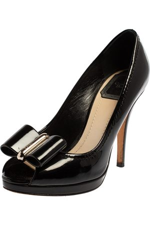 Dior Patent Leather Bow Peep Toe Pumps Size 36