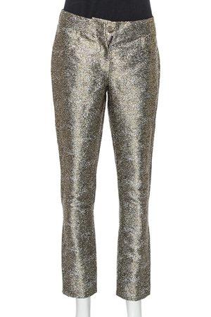 CHANEL Metallic Lamé Cropped Pants M