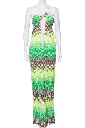M Missoni Chevron Patterned Knit Halter Neck Maxi Dress M