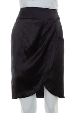 CHANEL Women Mini Skirts - Silk Satin Faux Wrap Mini Skirt S
