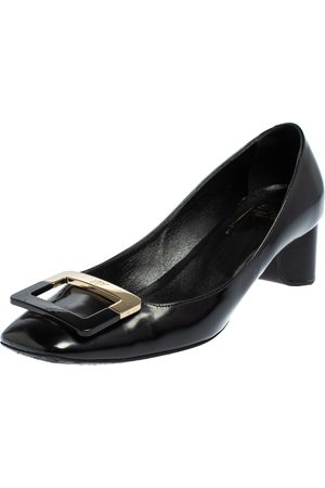 Roger Vivier Leather Belle Vivier Buckle Block Heel Pumps Size 38.5