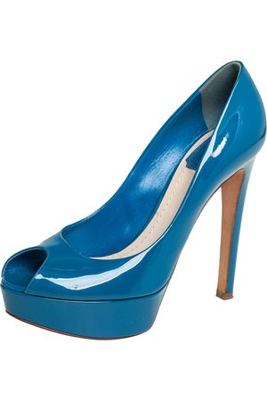 Dior Patent Leather Miss Peep Toe Platform Pumps Size 37.5