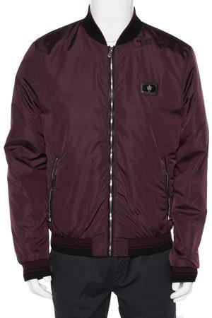Dolce & Gabbana Men Bomber Jackets - Burgundy Synthetic Zipper Front Bomber Jacket XL
