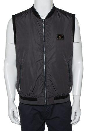 Dolce & Gabbana Men Gilets - Dark Grey Synthetic Plaque Gilet XL