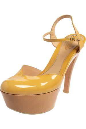 Gucci Women Platform Sandals - Patent Leather Platform Ankle Strap Sandals Size 38.5