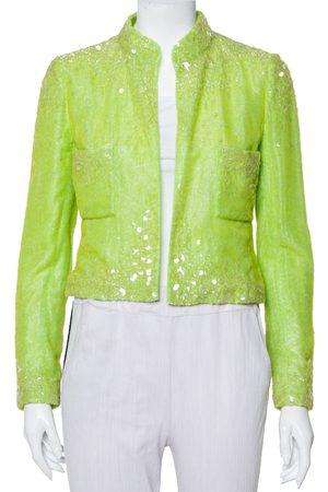 CHANEL Boutique Lime Sequin Embellished Velvet Open Front Cropped Jacket M