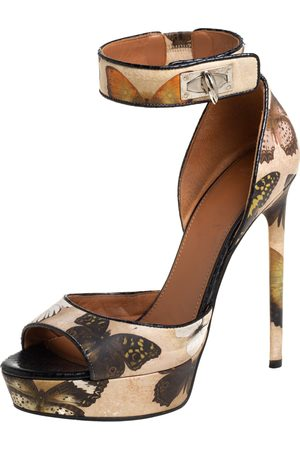 Givenchy Printed Leather Shark Lock Ankle Strap Open Toe Platform Sandals Size 39