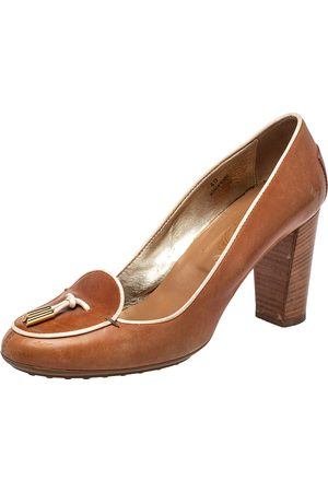 Tod's Women Heeled Pumps - Leather Block Heel Loafer Pumps Size 40