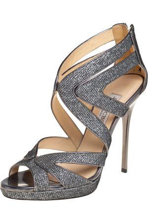 Jimmy Choo Metallic Grey Glitter And Lurex Collar Platform Sandals Size 37