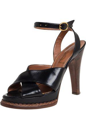 Saint Laurent Paris Saint Laurent Leather Ankle Strap Platform Sandals Size 39.5