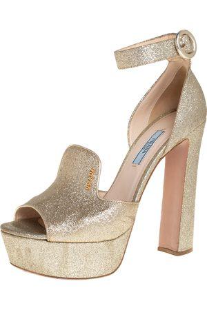 Prada Women Platform Sandals - Glitter Ankle Strap Block Heel Platform Sandals Size 38.5