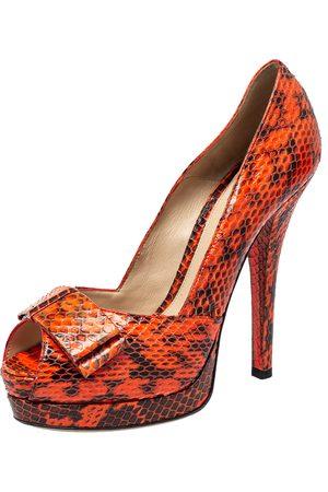 Fendi /Black Python Leather Peep Toe Pumps Size 40