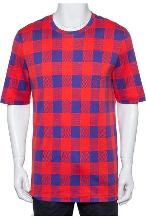 LOUIS VUITTON & Blue Masai Damier Printed Cotton Crewneck T-Shirt XXL
