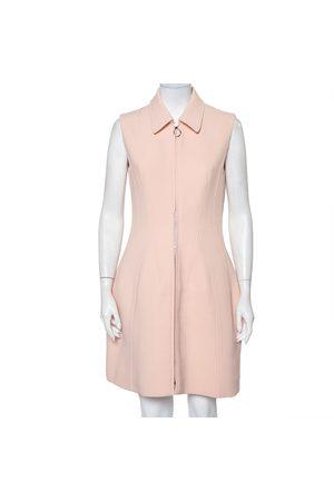 Dior Women Party Dresses - Christian Textured Wool Zip Front Sleeveless Mini Dress M