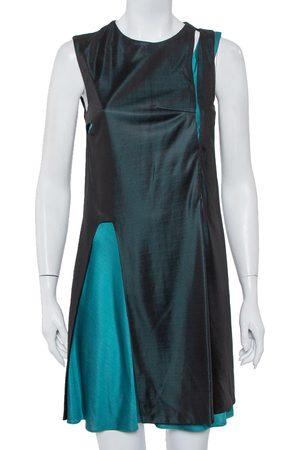 Balenciaga Women Knitted Dresses - & Teal Green Knit Paneled Sleeveless Shift Dress L