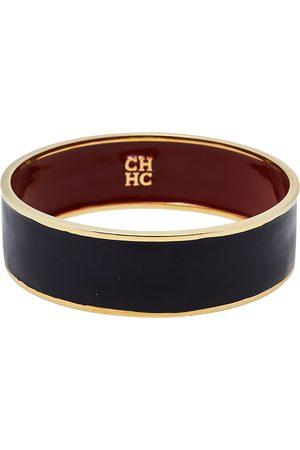 CH Carolina Herrera Women Bracelets - Carolina Herrera CH Enamel Gold Tone Wide Bangle Bracelet