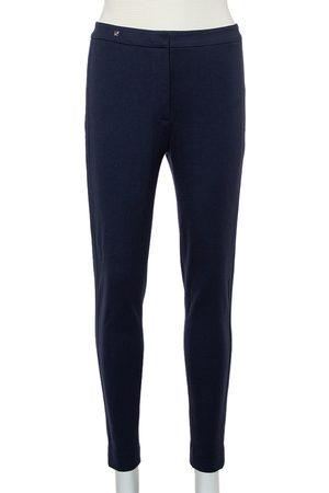 CH Carolina Herrera Navy Knit Paneled Tapered Leg Trousers S