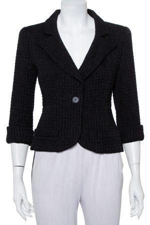 CHANEL Lurex tweed Button Front Cropped Blazer M