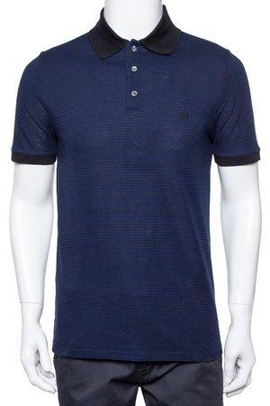 LOUIS VUITTON And Black Horizontal Striped Cotton Pique Polo T-Shirt M