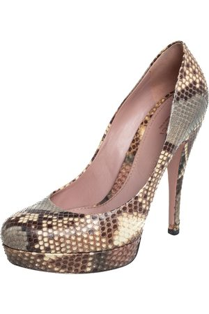 Gucci Women Platform Pumps - Python Lisbeth Platform Pumps Size 39