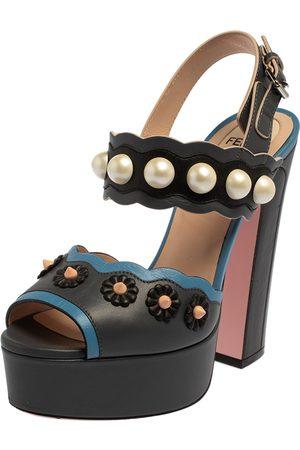 Fendi Grey/Blue Leather Pearl Studded Platform Ankle Strap Sandals Size 36