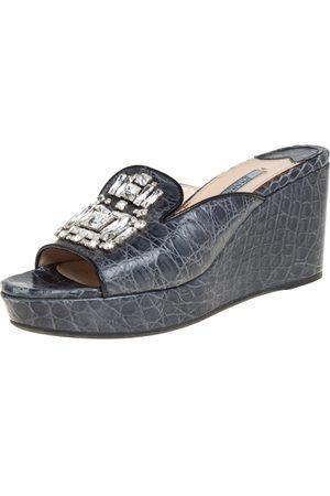 Prada Grey Crocodile Leather Embellished Platform Wedge Slide Sandals Size 37