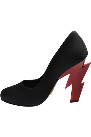 Prada Satin Lightning-bolt Heel Pumps Size EU 35