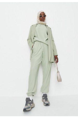 Missguided Women Sweatpants - Mint Rib Tie Front Joggers