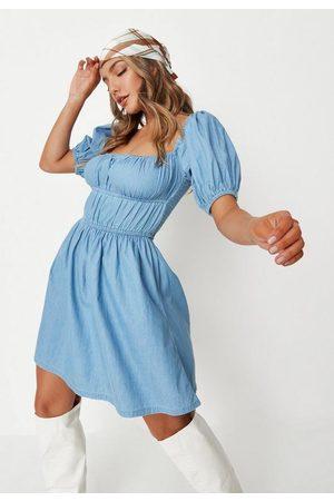 Missguided Women Dresses - Ruched Denim Smock Dress