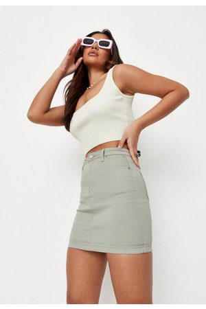 Missguided Women Mini Skirts - Sage Super Stretch Denim Mini Skirt