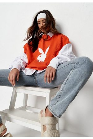 Missguided Women Sweatshirts - Playboy X Orange Varsity Print Extreme Oversized Sweatshirt