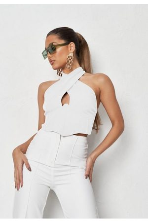 Missguided Women Crop Tops - Cross Front Halterneck Crop Top