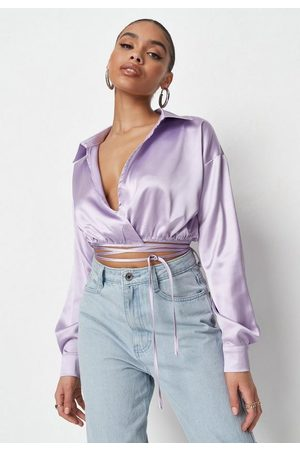 Missguided Women Wrap tops - Lilac Satin Wrap Front Cropped Shirt