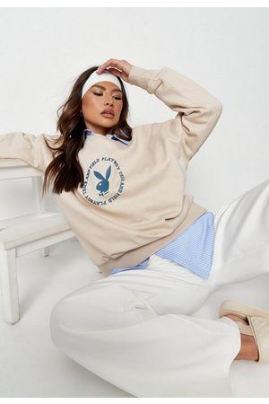 Missguided Playboy X Stone Varsity Print Oversized Sweatshirt