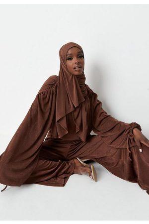 Missguided Chocolate Stretch Rib Bodysuit