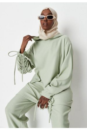 Missguided Women Hoodies - Mint Rib Ruched Sleeve Longline Hoodie