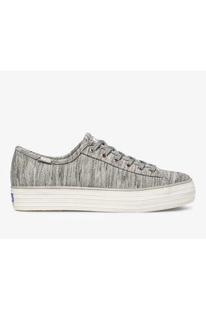 Keds Women Platform Sneakers - Triple Kick Heathered Stripe Knit Grey, Size 5m Women's Shoes