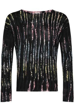 Saint Laurent Men Sweatshirts - SLP TIE DYE STRIPED CRW SWTR BLK