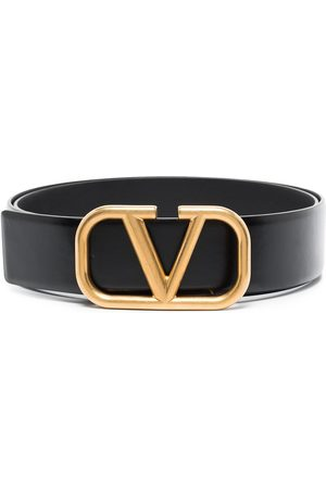 VALENTINO GARAVANI Men Belts - VLOGO buckle leather belt - 0NO NERO/NERO