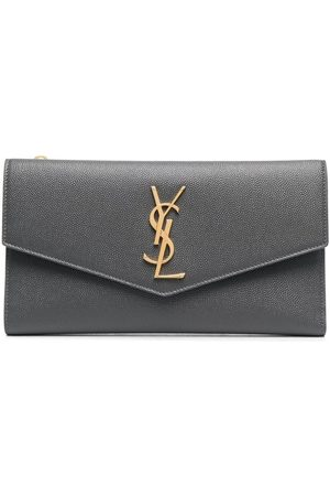 Saint Laurent Women Wallets - Logo-plaque wallet - Grey