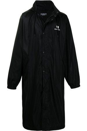 Balenciaga Men Rainwear - Logo-print drawstring-hood raincoat
