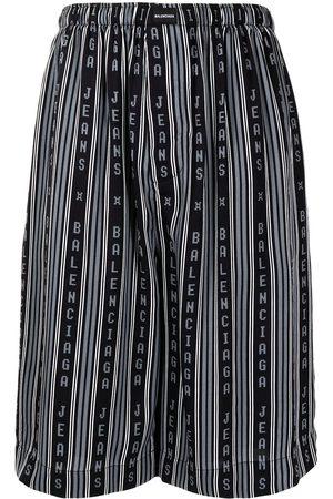 Balenciaga Men Bermudas - Striped knee-length shorts