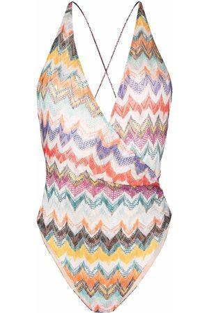 Missoni Women Beachwear - Chevron-knit V-neck one-piece