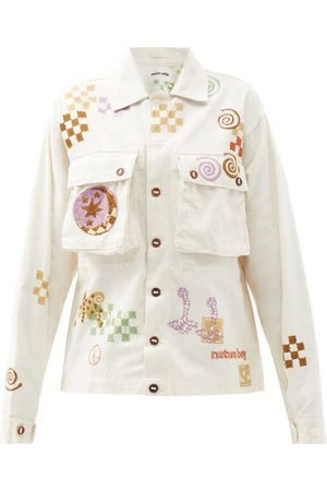 Story Helix Spiral Trip-print Organic-cotton Jacket - Womens - Ivory