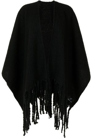 Unreal Fur Women Ponchos & Capes - Ecuador knit fringed poncho