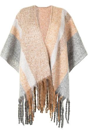 Unreal Fur Ecuador fringed poncho - Grey