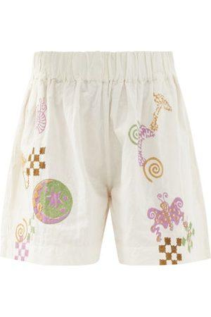 Story Women Shorts - Yearh Spiral Trip-print Organic-cotton Shorts - Womens - Ivory